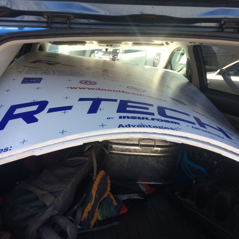 In case you were wondering, 4'x8' foam panels CAN fit into a very small Subaru!...